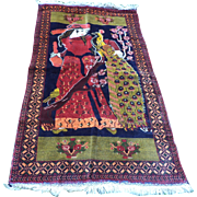 Herat Pictorial Rug, a Maiden and Peacock