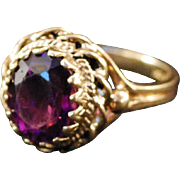 Nice 10k Gold Amethyst Victorian Style Ring