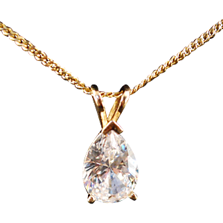 Nice Pear Shaped CZ Mounted In 14k Gold Frame