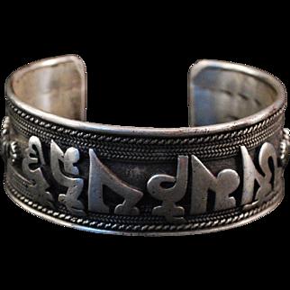 Oriental Sterling Silver Dragon Cuff Bracelet
