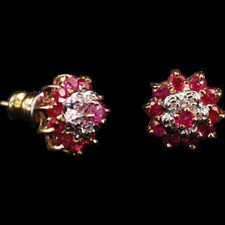Beautiful 14k Gold Diamond Ruby Cluster Earrings