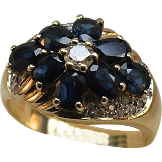 Awesome 14k Gold Diamond Sapphire Cluster Ring