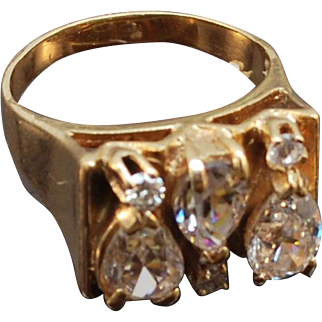 Custom Handmade Diamond And Synthetic 14k Gold Ring Bold Gold