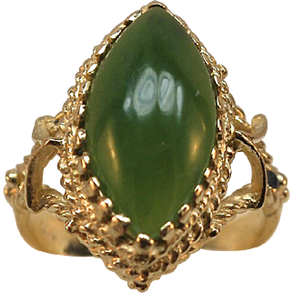 14k Gold Victorian style Jade Ring