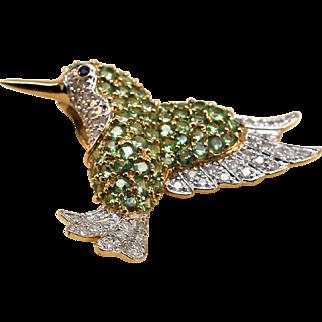Custom Made 14k Gold Diamond Peridot Hummingbird
