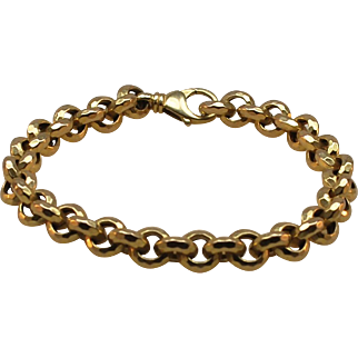 Cool 14k Gold Round Flat Diamond Cut Link Bracelet