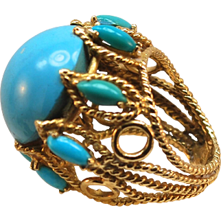 Unique 22k Gold Polished Turquoise Custom Made Ring