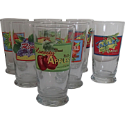 Collection of Libbey Fruit Box label glasses