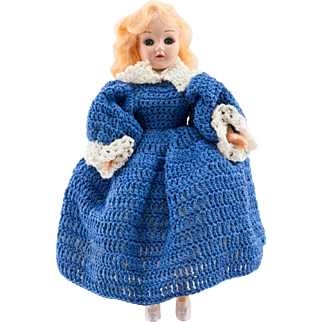 Plastic Doll with Blue Dress