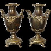 Pair of 19th Century French Bronze Urns