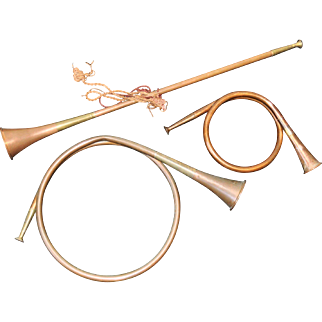Fine English Estate Copper Hunting Horns c.1900