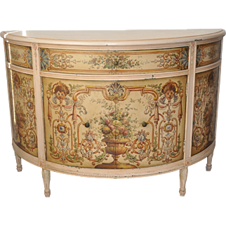 French Painted Demilune Cabinet c.1940
