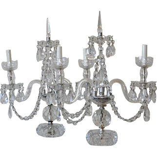 Stunning Pair of Cut Crystal Candelabra Girandoles c.1920