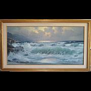 Alexander DZIGURSKI California Coastal Seascape Painting c.1970s