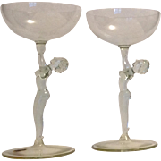Pair  Vintage  Cordial Glasses with Nude Stems