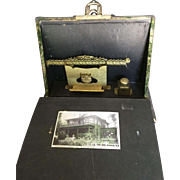Antique Photo Album with built-in Inkwell and Letter Holder Late 1800's