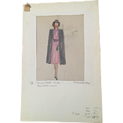 Rene Hubert Original Costume Sketch - 1939