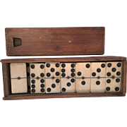 Antique Bone and Ebony Dominoes in Box