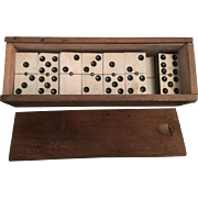 Vintage Dominoes -Double Sixes - in Wood Box