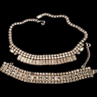 Weiss Demi Parure Baguette Rhinestone Necklace and Bracelet