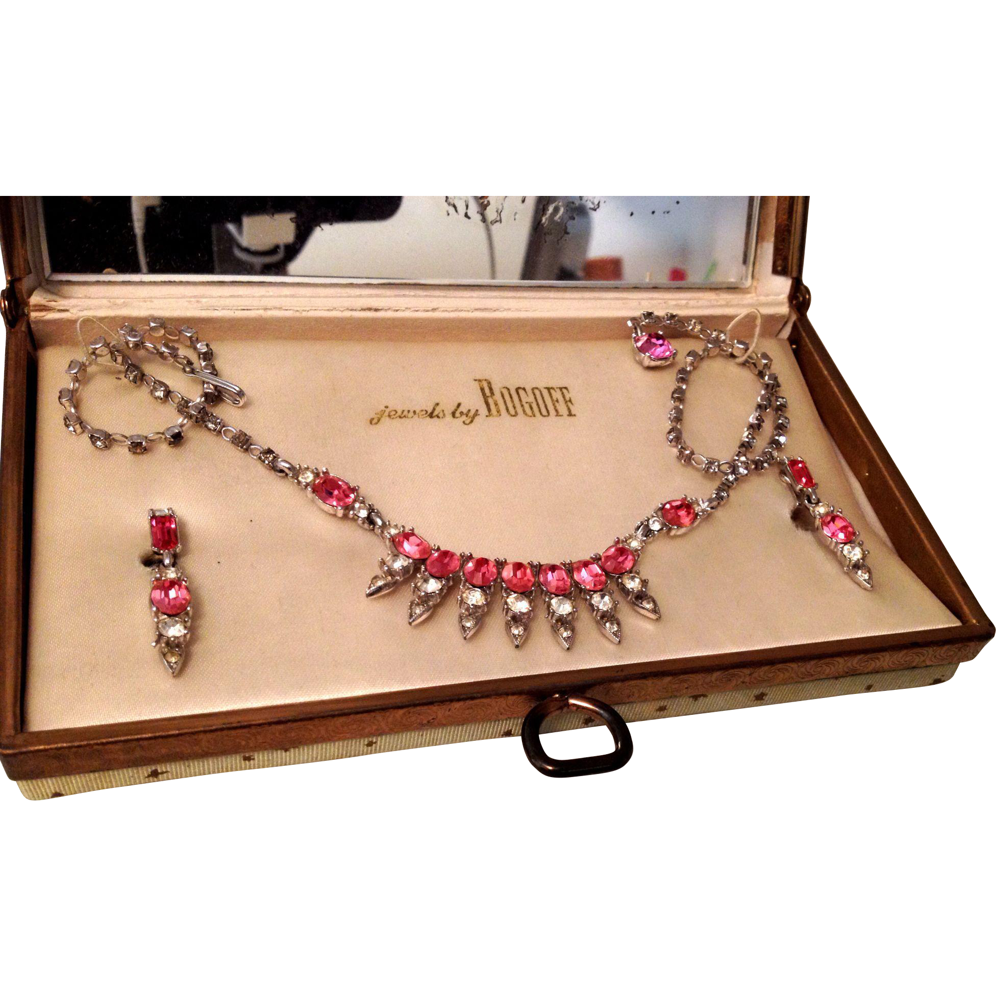 Bogoff pink rhinestone necklace and earrings in original for Bogoff vintage costume jewelry