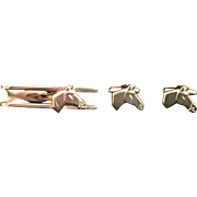 Vintage Hickok Horse Cuff Links and Tie Clip