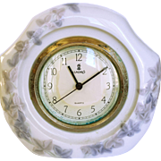 Vintage Llardro Clock White with Lavender Flowers