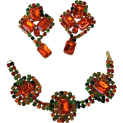 Magnificent Vintage Czech Glass Bracelet and Earrings