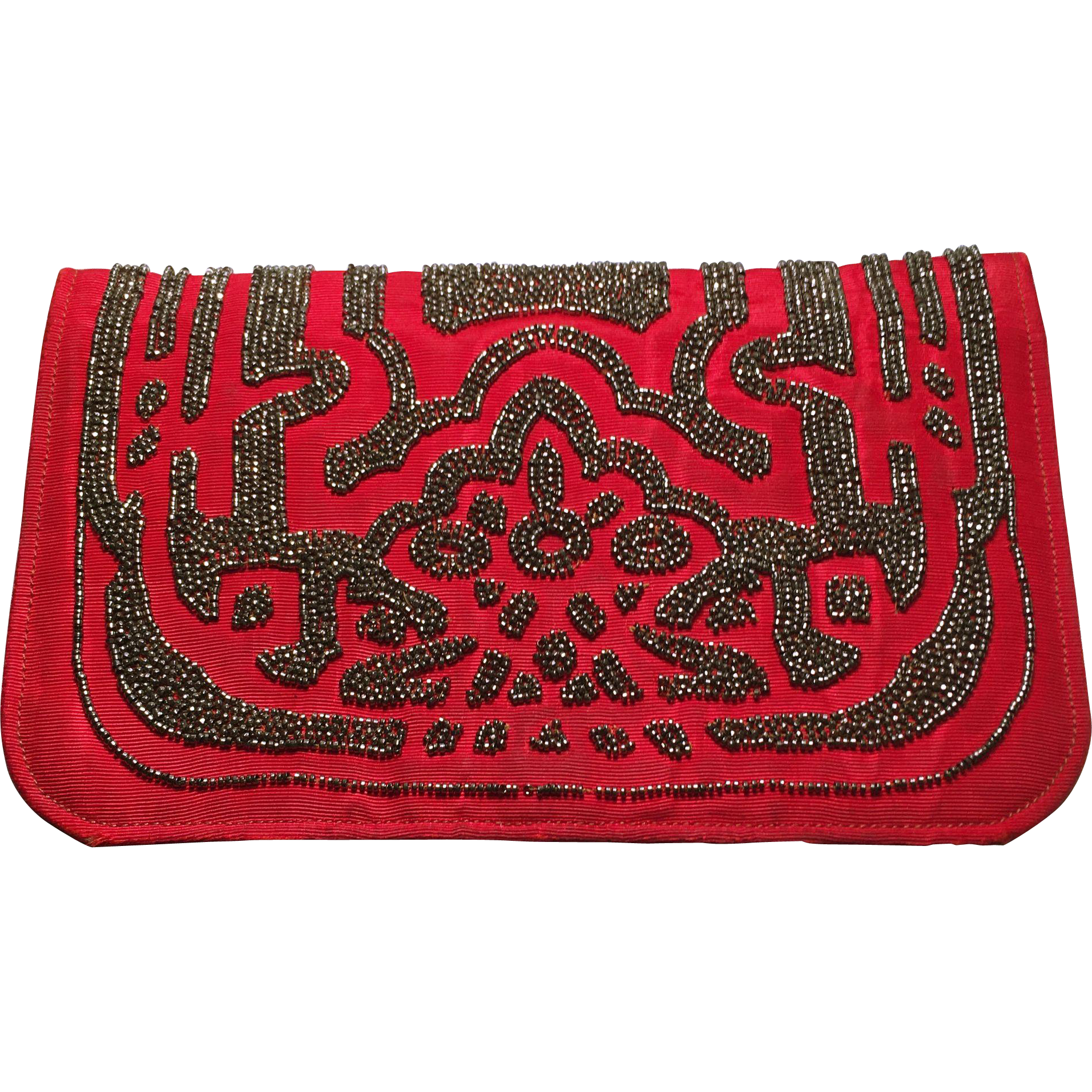 Vintage art deco style red fabric beaded clutch from for Art deco style fabric