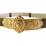 Judith Lieber Lizard Belt with Large Gold Tone Buckle - Red Tag Sale Item