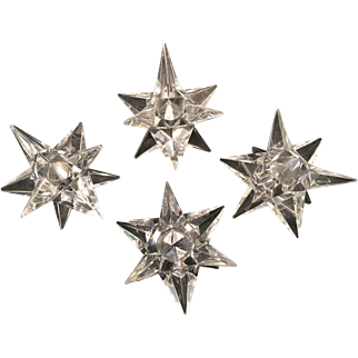 Sparkling Rosenthal Crystal Star Candle Holders 2 1/2 inch