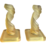 Westmoreland Yellow/Gold Lotus Spiral Frosted Glass Candlesticks 1960