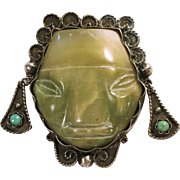 Mexican Sterling and Carved Onyx Mask Brooch