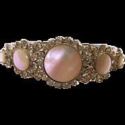 Vintage Hattie Carnegie Mother of Pearl (Faux) and Rhinestone Bracelet