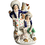 Staffordshire Spill Vase English Couple with Goat, Late 19th Century