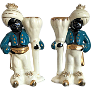 Blackamoor Pottery Candlesticks with Gold Trim, 1950's