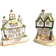 A pair of 20th Century Coalport Collectible Cottages, Bone China
