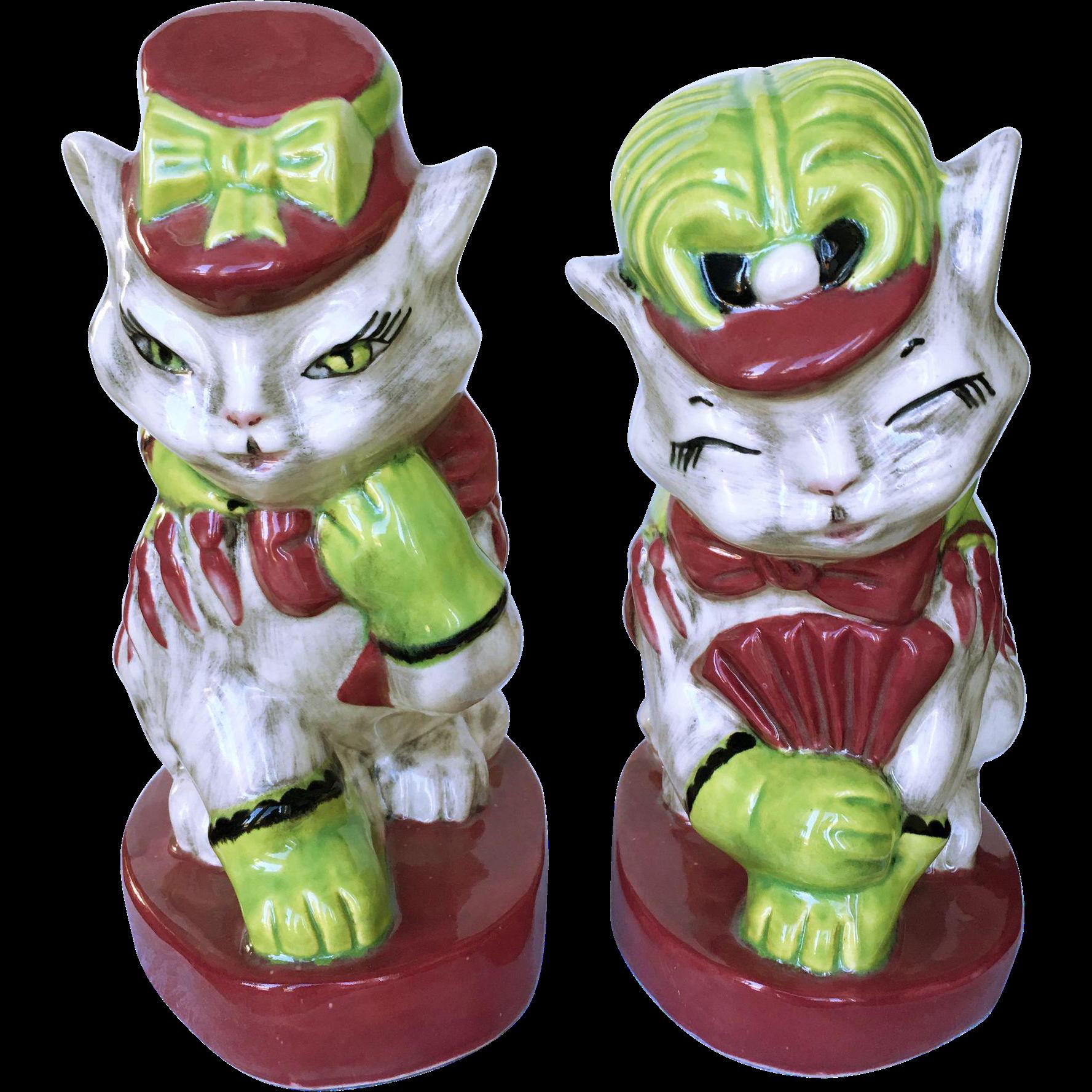 Brayton Laguna Fifi and Zizi Pottery Cat Figurines from ...