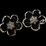 Erwin Pearl Black Enamel and Rhinestone Clip Earrings