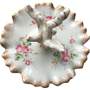 Vintage Porcelain Ring Dish with Pink Flowers
