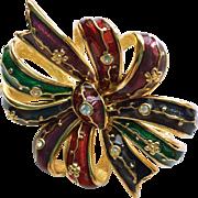Joan Rivers Multicolor Brooch with Rhinestones
