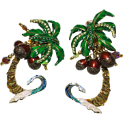 Lunch at the Ritz Palm Tree Clip Earrings