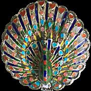 Vintage Plique a Jour Enamel Peacock Brooch