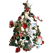 Christmas Tree Brooch with Dangling Ornaments