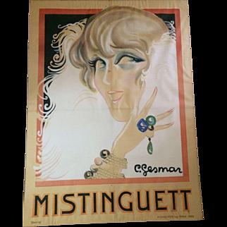 Huge Mistinguett Print by Charles Gesmar, 1925, paris