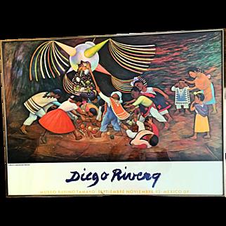 """Diego Rivera Poster printed 1983 """"La Piñata"""""""