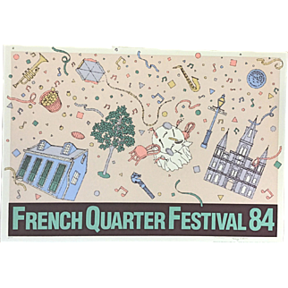 """Vintage Lithographic Poster """"French Quarter Festival 1984"""" Signed and Numbered"""