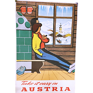 Take It Easy in Austria Vintage Poster 1950