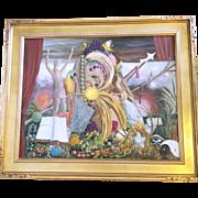 Large Vintage Oil Painting signed Baldassar