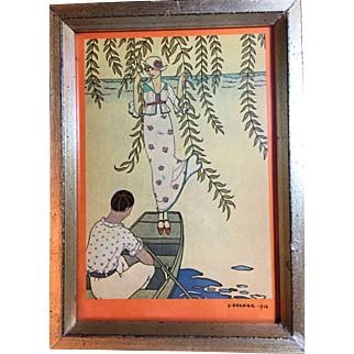George Barbier Pochoir on Paper, Signed and Dated